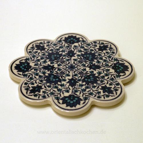 Topf-Untersetzer orientalisch Iznik Design Blütenform Blau Weiss 18.5 cm