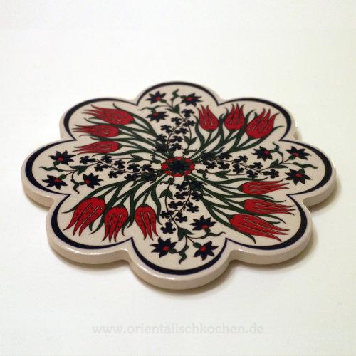 Topf-Untersetzer orientalisch Iznik Design Blütenform Rot Schwarz 18.5 cm