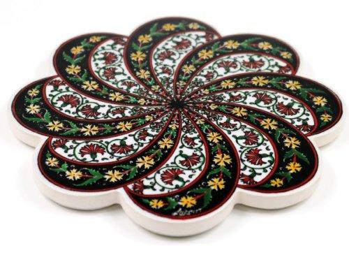 Topf-Untersetzer orientalisch Iznik Design Blütenform Schwarz 18.5 cm