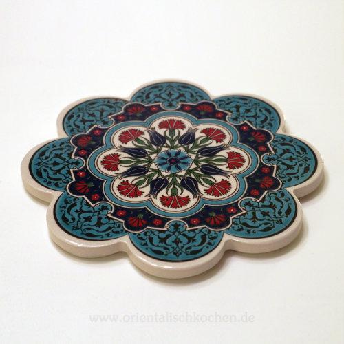 Topf-Untersetzer orientalisch Iznik Design Blütenform Türkis Rot Blau 18.5cm in Wentorf