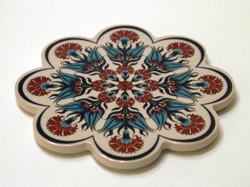 Topf-Untersetzer orientalisch Iznik Design Weiss Blütenform Rot Türkis Blau 18.5 cm
